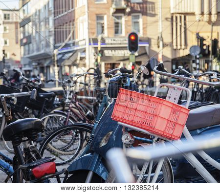 many bicycles on street of Amsterdam city, parking ideal traffic eco healthy lifestyle concept close up at sunlight, health care stuff