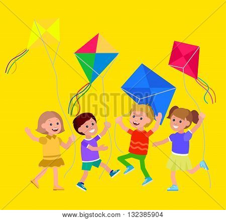 Cute vector character child. Cheerful child. Kid playing with kite. Vector illustration of child flying kite. Detailed character child. Vector for Celebration children day
