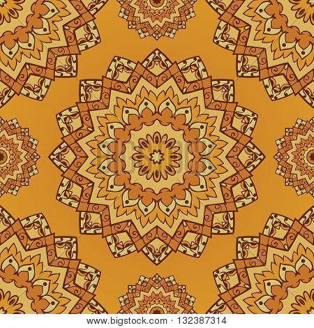 Oriental yellow pattern of mandala. Vector seamless orange background. Template for textile carpet wallpaper coverlet shawls.