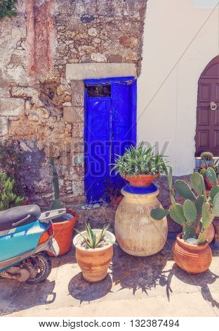 antique door in the colorful  village Koskinou on the island of Rhodes, Greece