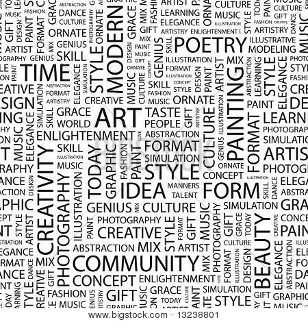 ART. Seamless vector pattern with word cloud. Illustration with different association terms.