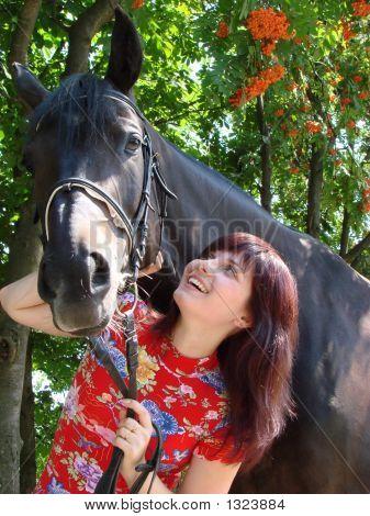 Brunette Female Model With Black Horse 1
