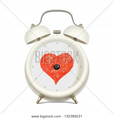 White alarm clock with red heart in clock face center without minute hand and without hour hand on light background. Love and time concept