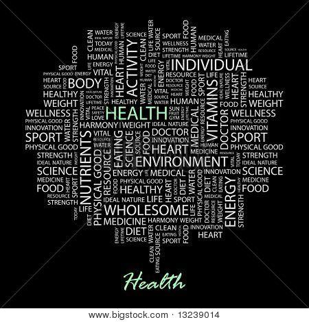 HEALTH. Word collage on black background. Vector illustration.