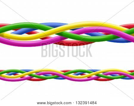 Seamless pattern of interwoven multicolored wires on white background