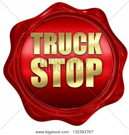 truck stop, 3D rendering, a red wax seal