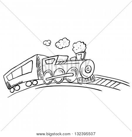 black and white cartoon illustration of a train
