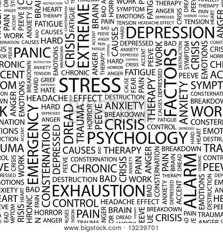 STRESS. Seamless vector pattern with word cloud. Illustration with different association terms.