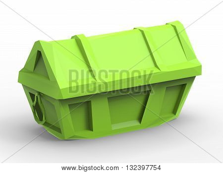 3d illustration of simple chest. simple to use. low poly style. on white background isolated with shadow. icon for game or web. green colors. banner treasure. pirates