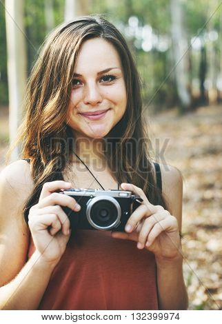 Photographer Camera Camping Trip Activity Concept