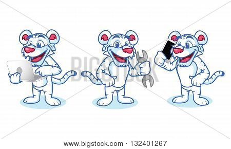 White Tiger Mascot with phone laptop and tools