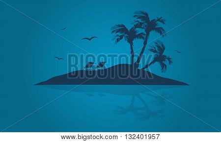 Beautiful islands of silhouette at summer holiday backgrounds