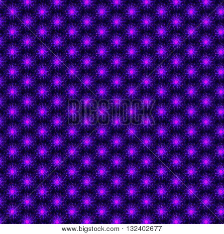 Abstract fractal design. A fractal pattern. Glowing pink-purple fractal background. Bright flower fractal on dark background. Never-ending fractal pattern. Round fractal pattern.