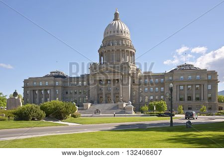 Boise Idaho state capitol building in downtown Boise.