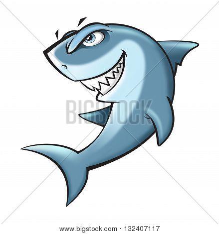 Angry shark cartoon illustration on white background