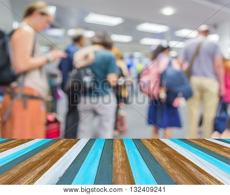 Blur Image Of People In Queue In Front Of Airport Passenger Gate.
