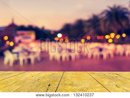 Blur Image Of Tables And Decoration Prepared For An Outdoor Party On Evening Time (vintage Tone)