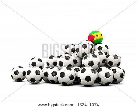 Pile Of Soccer Balls With Flag Of Sao Tome And Principe