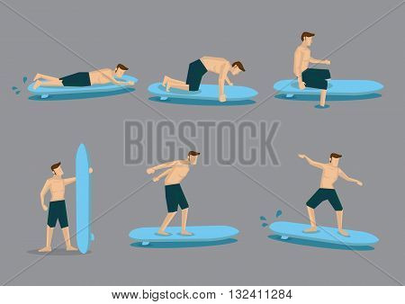 Sporty young man wearing board shorts learns to surf with surfboard. Set of six vector character illustrations isolated on plain grey background.