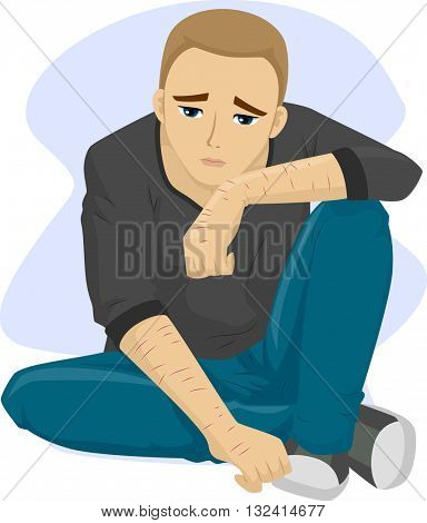 Illustration of a Teenage Boy with Scars from Self Inflicted Wounds