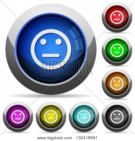 Set of round glossy Neutral emoticon buttons. Arranged layer structure.