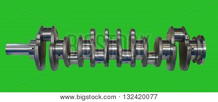 Isolated on green background crankshaft from engine car. Chromakey Green Screen