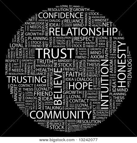 VERTRAUEN. Wort-Collage auf schwarzem Hintergrund. Abbildung mit verschiedenen Verband Bedingungen.