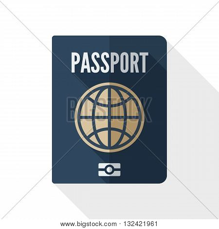 Vector Passport icon. Passport simple icon in flat style with long shadow on white background