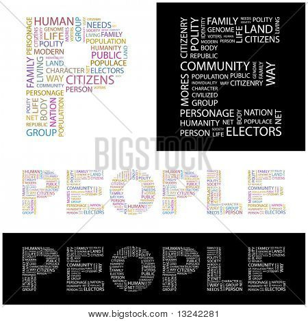 PEOPLE. Word collage. Illustration with different association terms.