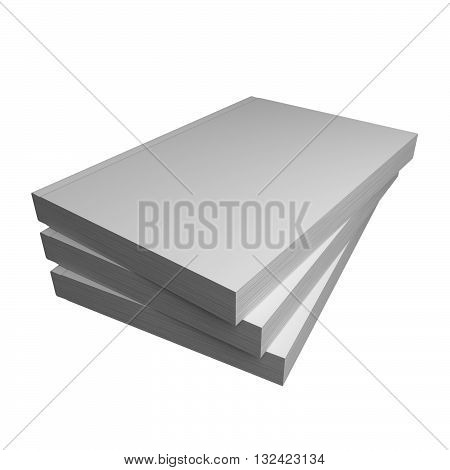 3D render of three paperback books with clipping path