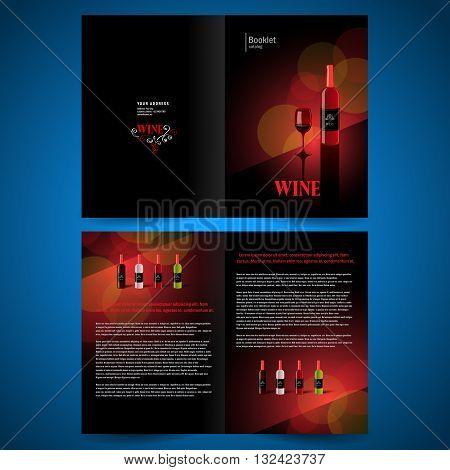 booklet catalog brochure folder wine red vine bokeh black background