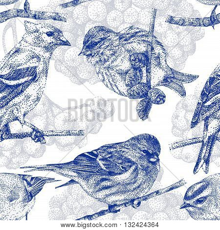Seamless pattern with different birds and plants drawn by hand with black ink. Graphic drawing pointillism technique. Can be used for pattern fills wallpapers web page surface textures