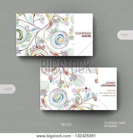 Business card vector template with floral abstract background. Creative modern design