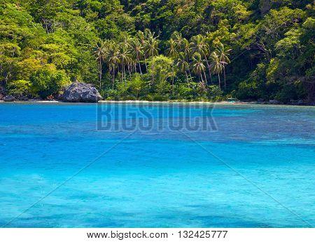 Blue bay and palm trees. El Nido,  Palawan island, Philippines