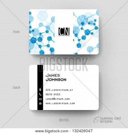 Business card vector template with DNA molecule background. Creative modern design