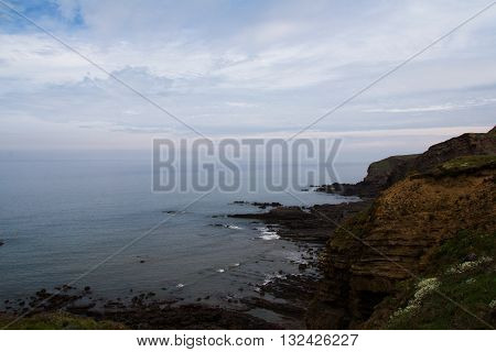 View Over The Coastline Near Bude In Cornwall