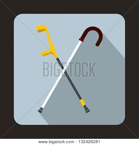 Walking cane icon in flat style with long shadow. Help people symbol