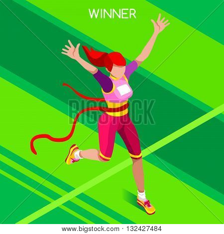 Rio 2016 Running Winning Woman Athletics Summer Icon Set.Win Concept.3D Isometric Win Runner Athlete.Sport of Athletics Sporting Competition.Sport Infographic Track Field Vector Illustration