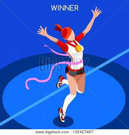 2016 Running Winning Woman Athletics Summer Games Icon Set.Win Concept.3D Isometric Win Runner Athlete.Sport of Athletics Sporting Competition.Sport Infographic Track Field Vector Illustration