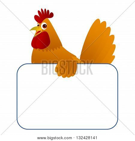 Clipart picture of a chicken cartoon character holding a blank board.