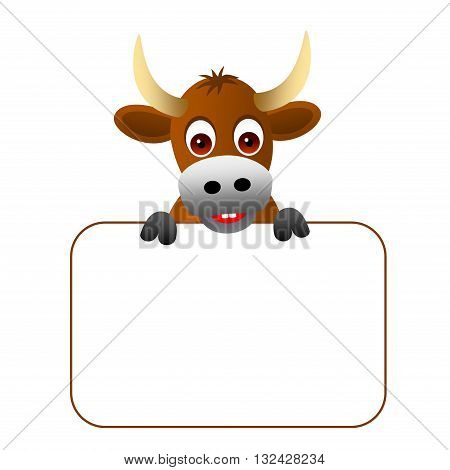 Clipart picture of a ox cartoon character holding a blank board