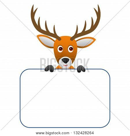 Clipart picture of a deer cartoon character holding a blank board.