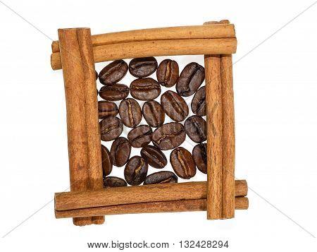 Coffee Beans In Square Of Cinnamon Sticks