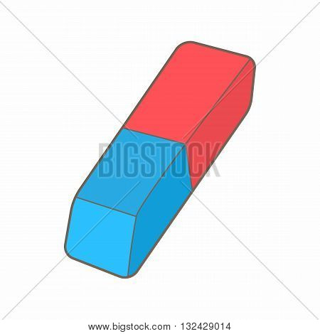 Blue and red rubber pencil eraser icon in cartoon style on a white background
