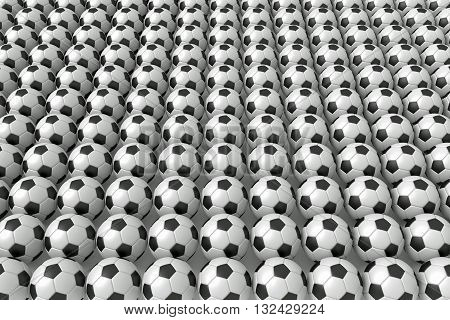 Conformity - So many soccer balls 3d illustration