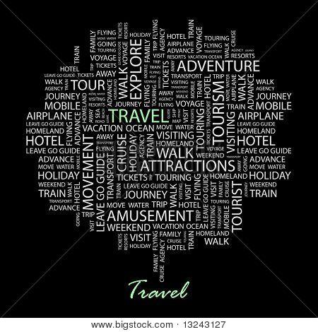 REISEN. Wort-Collage auf schwarzem Hintergrund. Abbildung mit verschiedenen Verband Bedingungen.