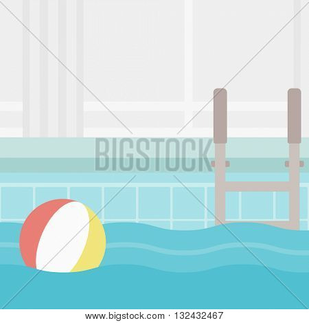 Background of swimming pool with inflatable ball vector flat design illustration. Square layout.