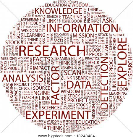 RESEARCH. Word collage on white background. Vector illustration.