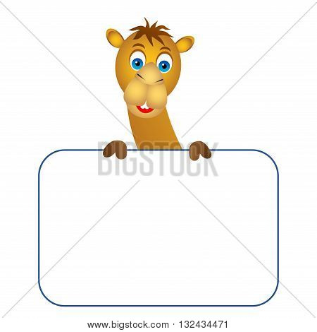 Clipart picture of a camel cartoon character holding a blank board.