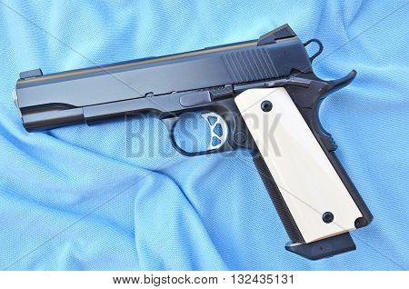The gun shot on blue background for dicut
